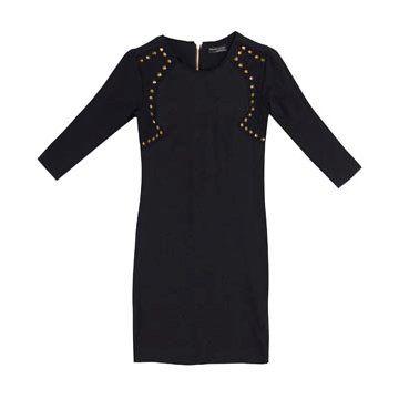 黑色棉质连衣裙