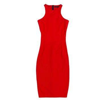 红色丝质连衣裙