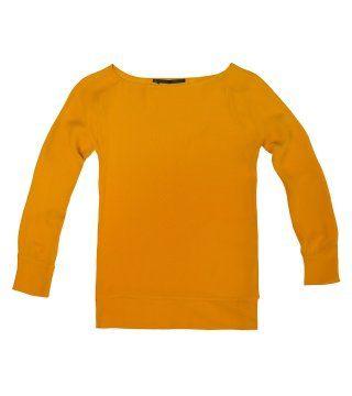 橘黄色圆领上衣