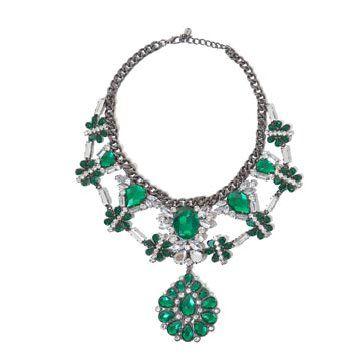 银质绿宝石项链