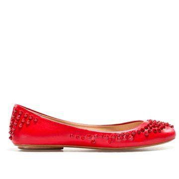 红色皮革平底鞋
