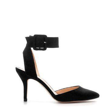 黑色麂皮中跟鞋