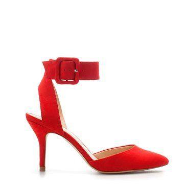 红色麂皮中跟鞋