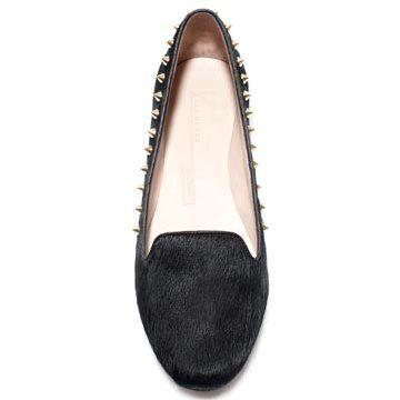 灰色马毛平底鞋