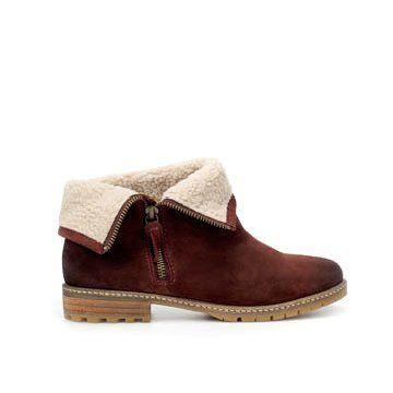 酒红色牛皮踝靴