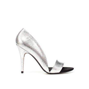 银色牛皮高跟鞋