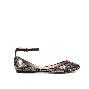 金属色蛇纹平底鞋