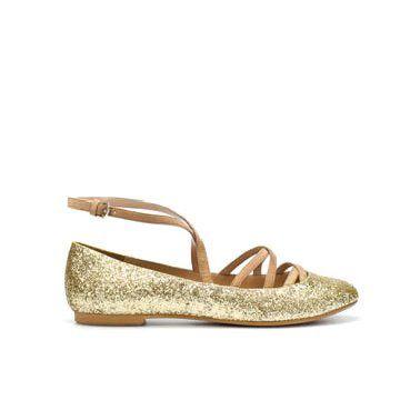 金属色平底鞋
