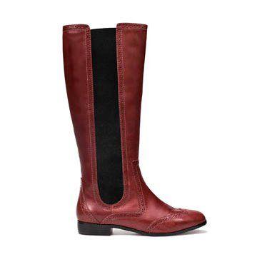 棕红色牛皮长靴