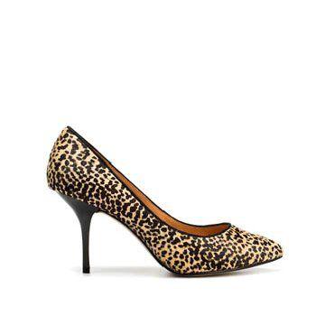 豹纹马毛中跟鞋