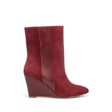 棕红色牛皮拼接长靴