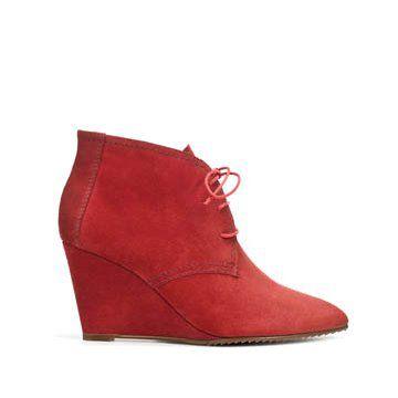 棕红色牛皮坡跟鞋
