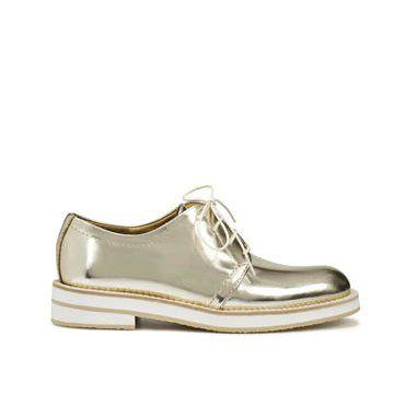 银色面包边德比鞋