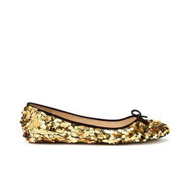 金色亮片平底鞋