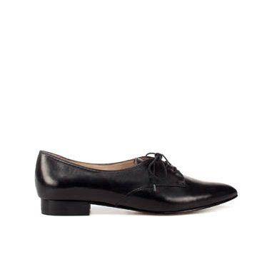 黑色牛皮平底鞋