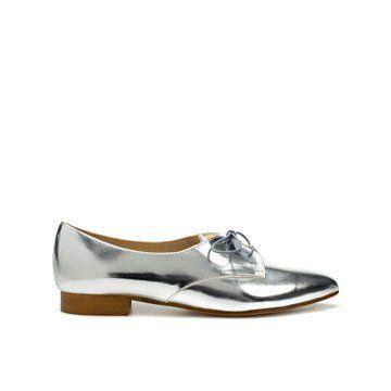 银色牛皮平底鞋