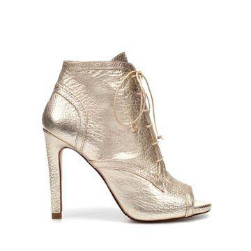 银色牛皮短靴