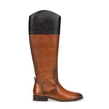 棕色牛皮拼接长靴