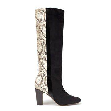 蛇纹羊皮拼接长靴