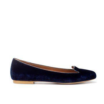 钴蓝色牛皮平底鞋