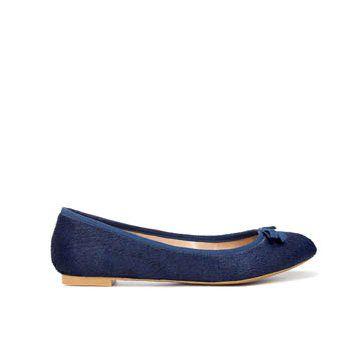 湖蓝色牛皮平底鞋