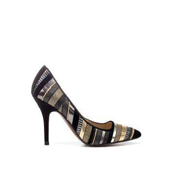 金属面拼贴高跟鞋