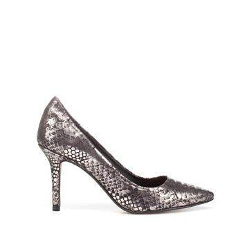 金属面蟒蛇纹中跟鞋